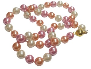 New Peach Pink & White Glass Pearl Necklace J2934