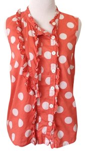 Marc by Marc Jacobs Top Orange and White Polka Dot