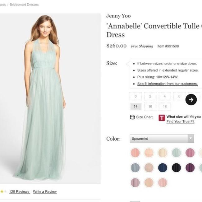 Item - Spearmint Tulle; Polyester Lining Vintage Bridesmaid/Mob Dress Size 10 (M)