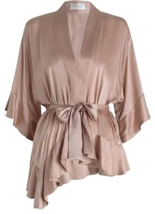 ZIMMERMANN Dusty Silk Waist Top Rose