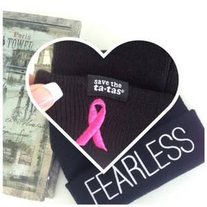 breast cancer pink ribbon beanie hat