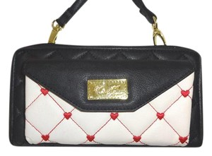 Betsey Johnson LUV BETSEY WALLET ON A STRING/ ZIP AROUND/BLACK/BONE/CELL PHONE POCKET
