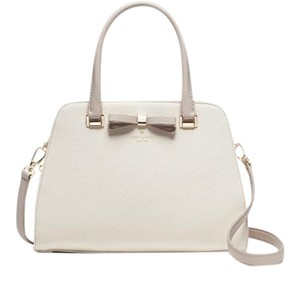 Kate Spade Henderson Street Pebbled Leather / Satchel in Cement / Crisp Linen