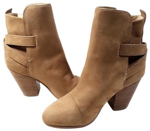 Rag & Bone Crossed Straps Ankle Bootie Camel Nubuck Boots