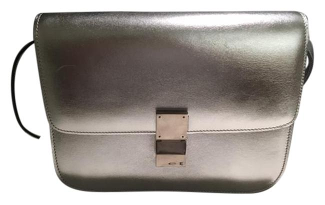 Item - Medium Classic Silver Calfskin Shoulder Bag