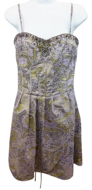Item - Lace Up Detail Brocade Above Knee Night Out Dress Size 8 (M)