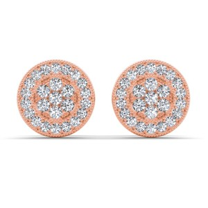 Elizabeth Jewelry 10Kt Rose Gold Diamond Halo Stud Earrings