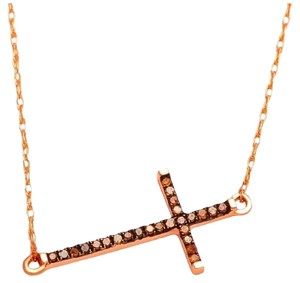 Elizabeth Jewelry 10Kt Rose Gold Cognac Diamond Cross Pendant