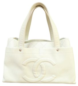Chanel Shoulder Calfskin Pouch Tote in Creme