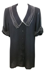 OGGI Black Silk Blouse Button Down Shirt