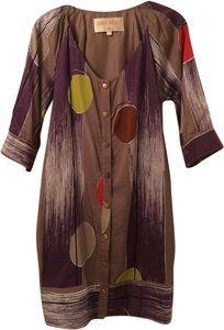 Lauren Moffatt Silk Cotton Brass Buttons Snap Artistic Dress