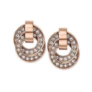 Michael Kors Brilliance Crystal Pave Rose Gold Tone Ring Drop Earring MKJ3435