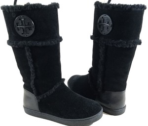 Tory Burch Suede Logo Medallion Black Boots