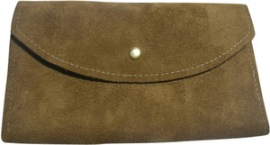 Tan Brown Suede Leather Envelope Bifold Wallet w/Checkbook, Coin Purse Brazil