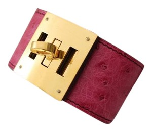 Hermès CLEARANCE SALE AUTH. HERMES KELLY DOG OSTRICH LEATHER FUCHSIA PM
