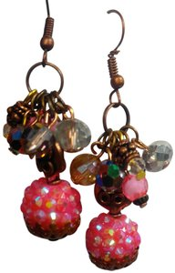 Other New Handmade Pink & Copper Dangle Crystal Earrings J2935