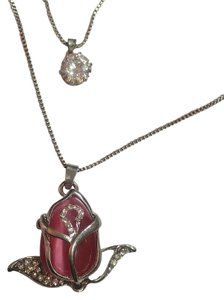 Betsey Johnson Betsey Johnson Double Chain Rose Crystal Necklace Silver J2936