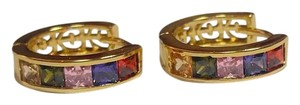 Other New 14K Gold Filled Colorful Cubic Zirconia Hoop Earrings J2937