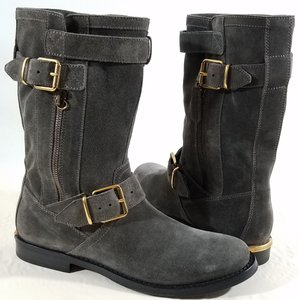 Burberry Suede Upper Mid-calf Dark Grey Boots