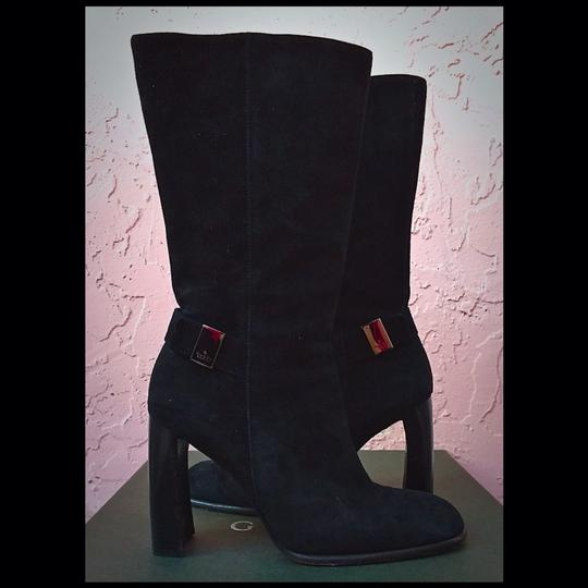 Gucci Gg Suede Stacked Classic Hardware Black Nero Silver Boots