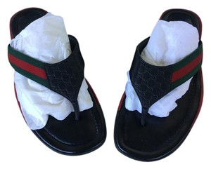 Gucci Black/ Red/ Green Sandals