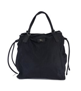 Burberry Black Nylon Leather Tote