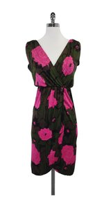 Trina Turk short dress Green Pink Flower Print on Tradesy