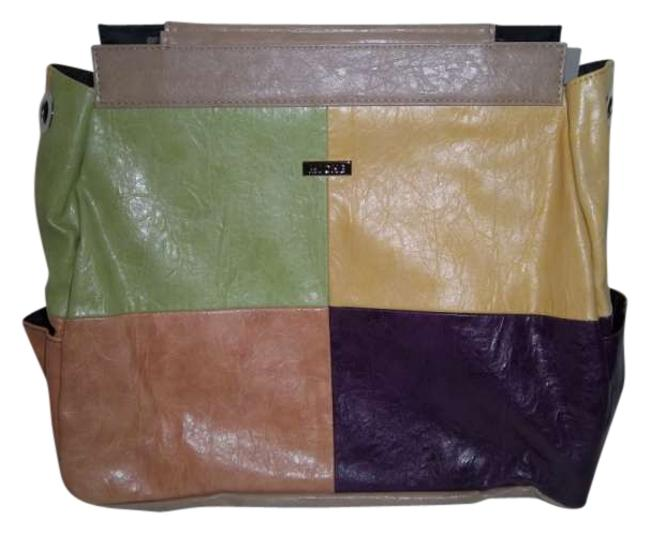 Item - Brianna Prima Shell Sage Canary Tangerine and Eggplant Faux Leather Shoulder Bag