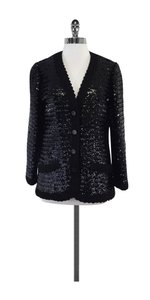 Oscar de la Renta Black Sequin Button Down Jacket
