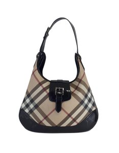 Burberry Coated Patent Leather Tartan Shoulder Bag