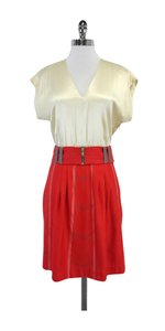 Lauren Moffatt short dress Red Cream Silk Belted on Tradesy