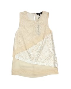 Robert Rodriguez Cream White Lace Tiered Top