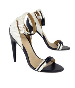 L.A.M.B. Black White Ankle Strap Heels Sandals