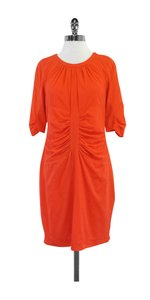 Whistles short dress Orange Ruched 3/4 Length Sleeve Silk on Tradesy