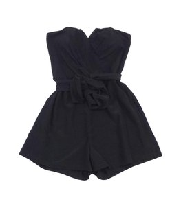 Yumi Kim short dress Black Strapless Silk Romper on Tradesy