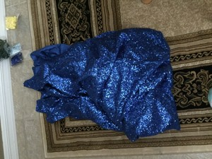 Sequin Royal Blue Tablecloth