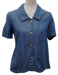 Coldwater Creek Button Down Shirt Denim Blue