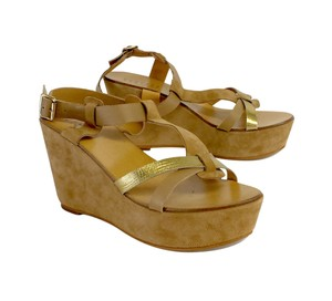 Barneys New York Brown Leather Gold Suede Wedges
