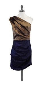 Halston short dress Brown Navy One on Tradesy