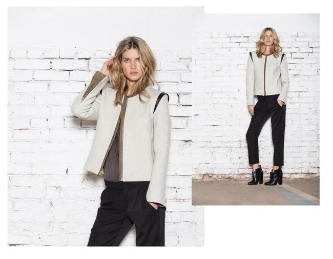 Item - Cream with Olive Stitching and Suede and Leather Details Blazer Size 2 (XS)