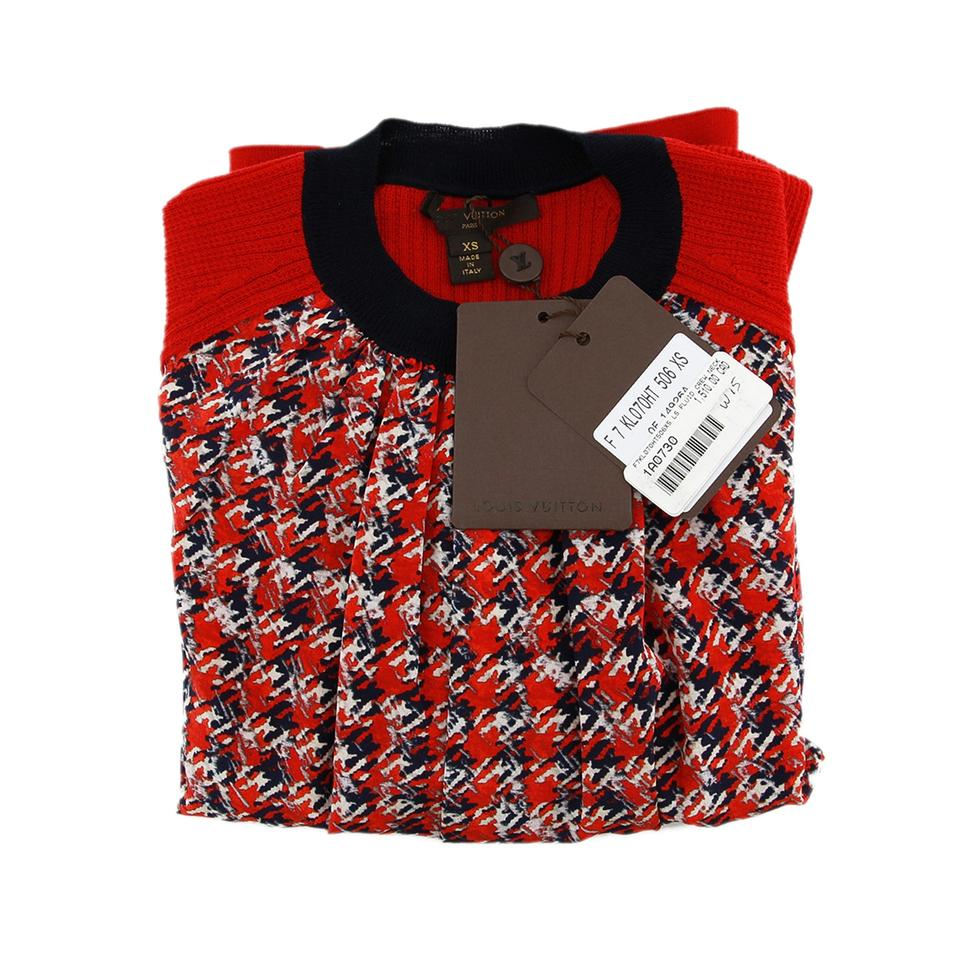 Wonderful Louis Vuitton Red New Knit Wool Silk Houndstooth Blouse Sweater  RC65