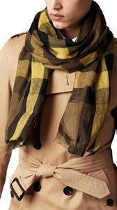 Burberry Burberry Men's Giant Exploded Yellow Check Linen Crinkled Scarf
