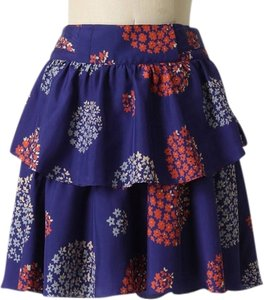 Anthropologie Feminine Print Silk Ruffle Mini Skirt Blue Motif