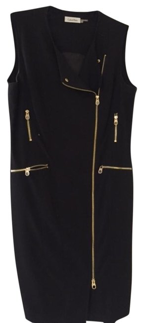 Calvin Klein Black With Gold Zippers Above Knee Short