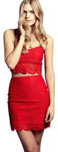 For Love & Lemons Crop Of Lace Top Cherry Red