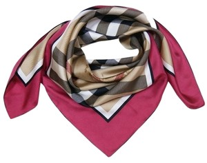 Burberry Beige Bordeaux Pink Red Check Silk Square Scarf