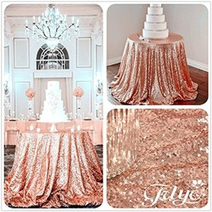 """Rose Gold Sequin 120"""" Round Tablecloth"""