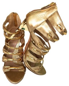 Herv Leger Chain Metal Gold Sandals