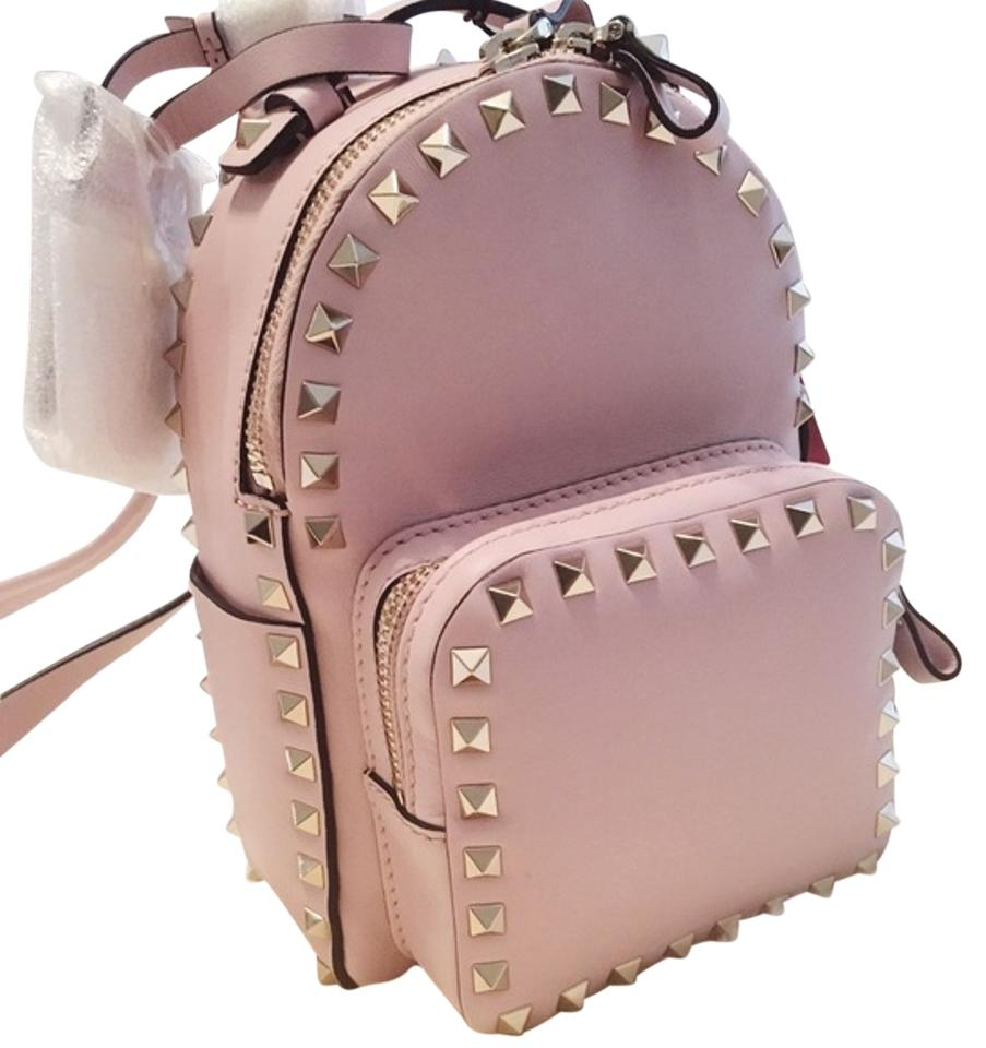 d8727a1353 Valentino Small Rockstud Pink Leather Backpack - Tradesy