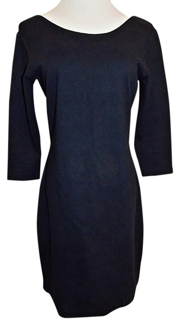 Item - Black Stretch Scoop 3/4 Sleeve Bodycon Knee Length Night Out Dress Size 4 (S)
